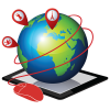 Virtual Field Trips Logo Image of a Globe on a Tablet