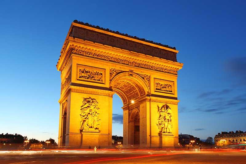 Arc de Triomphe in Paris at Sunset